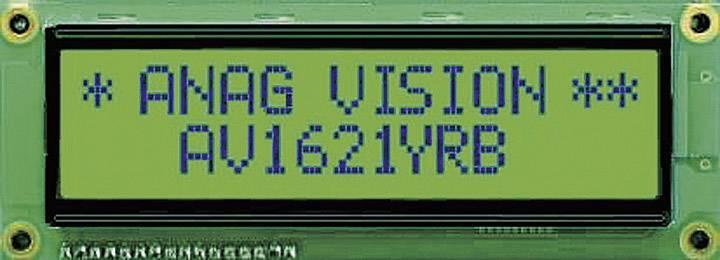 LCD displej Anag Vision AV1621YRB-SJ AV1621YRB-SJ, (š x v x h) 122 x 44 x 10 mm, čierna, žlutozlená