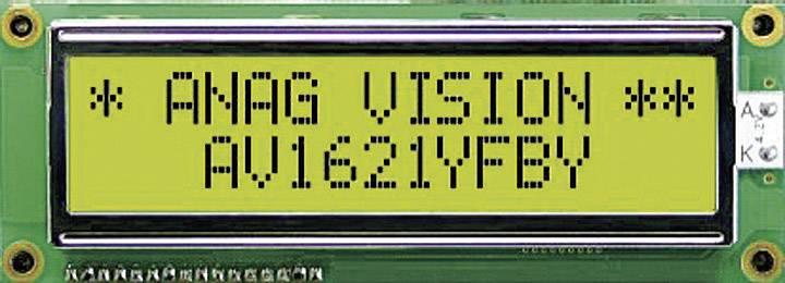 LCD displej Anag Vision AV1621YFBY-SJ AV1621YFBY-SJ, (š x v x h) 122 x 44 x 13.5 mm, čierna, žltozelená