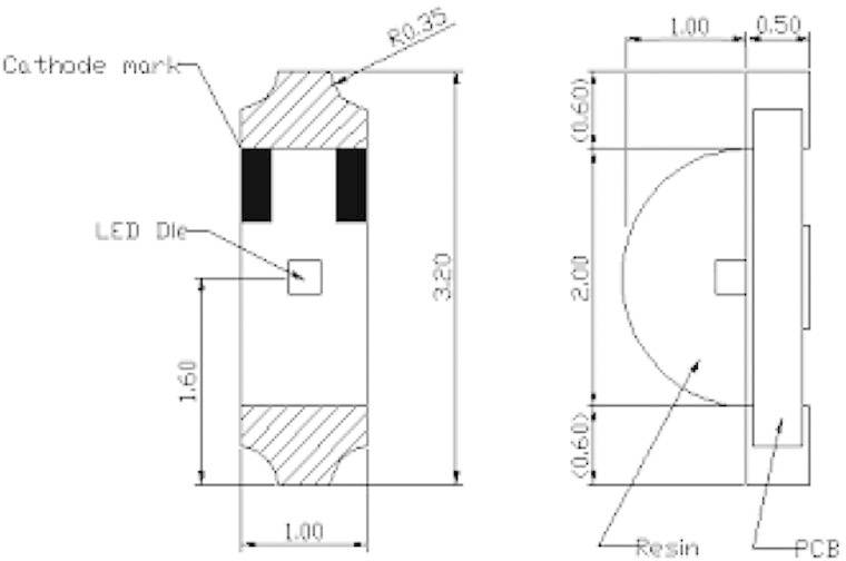 IR SMD emitor Harvatek, HT-110IRAJ, 940 nm, 140 °