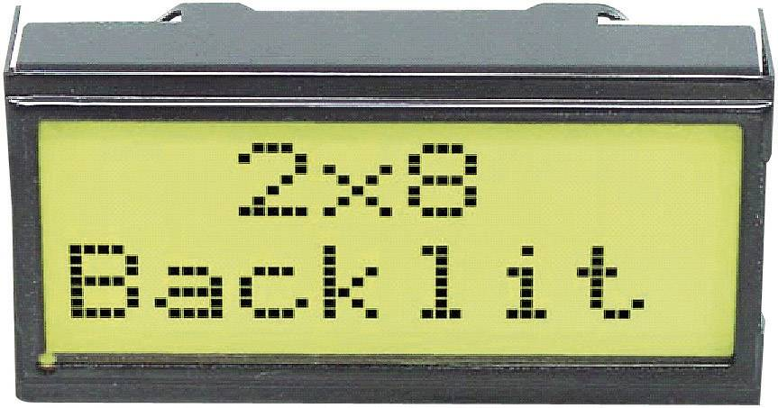 LCD displej 2x8 DIPS082-HNLED, EADIPS082-HNLED, 10,8 mm, černá, zelená/žlutá, EA DIPS082-HNLED