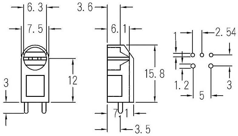 Distanční držák LED KSS LG3-12 Transparent, 5 mm