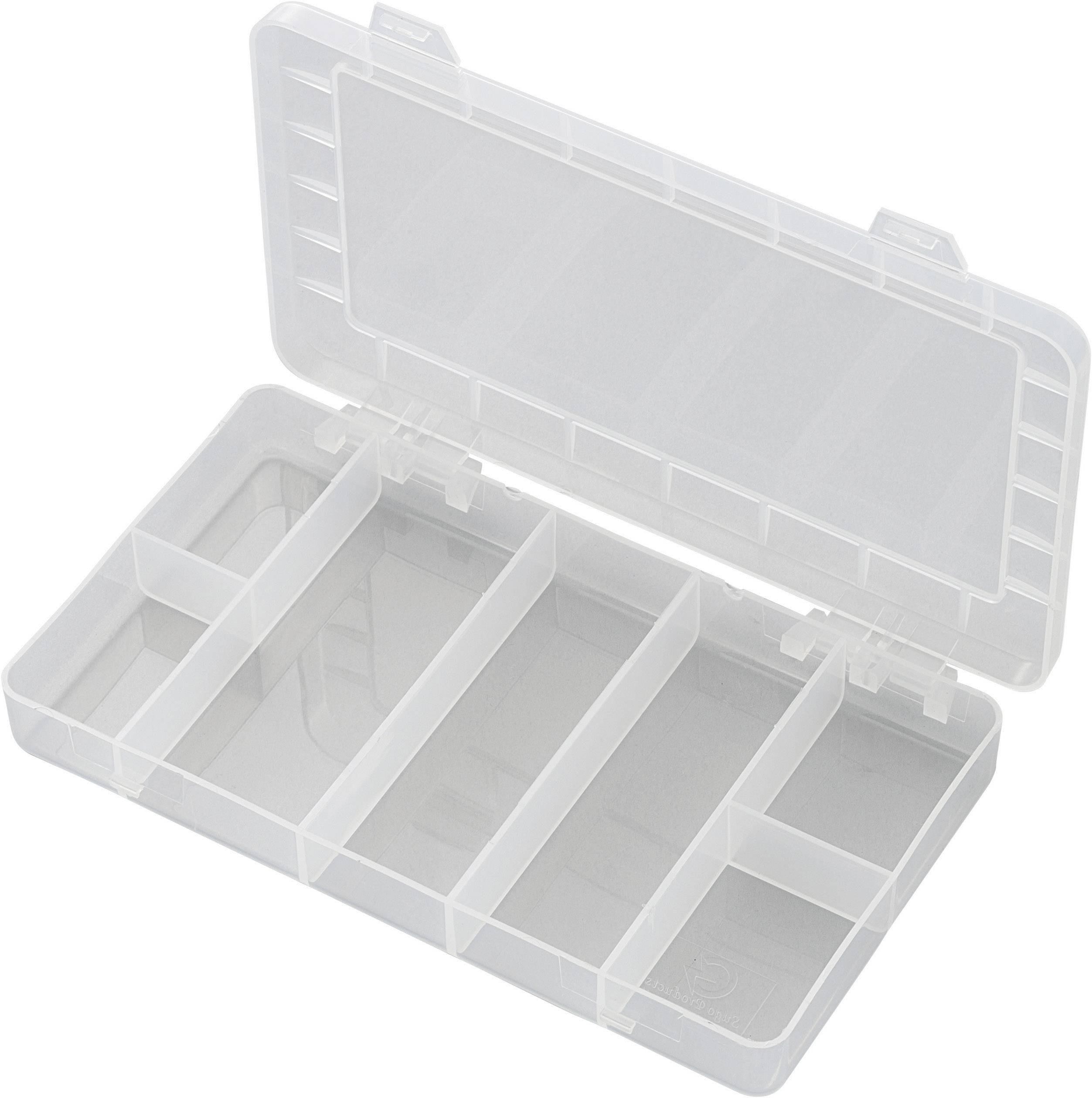 Krabička na drobné súčiastky 181932, priečinkov: 7, 192 x 110 x 24 , transparentná (difúzna)