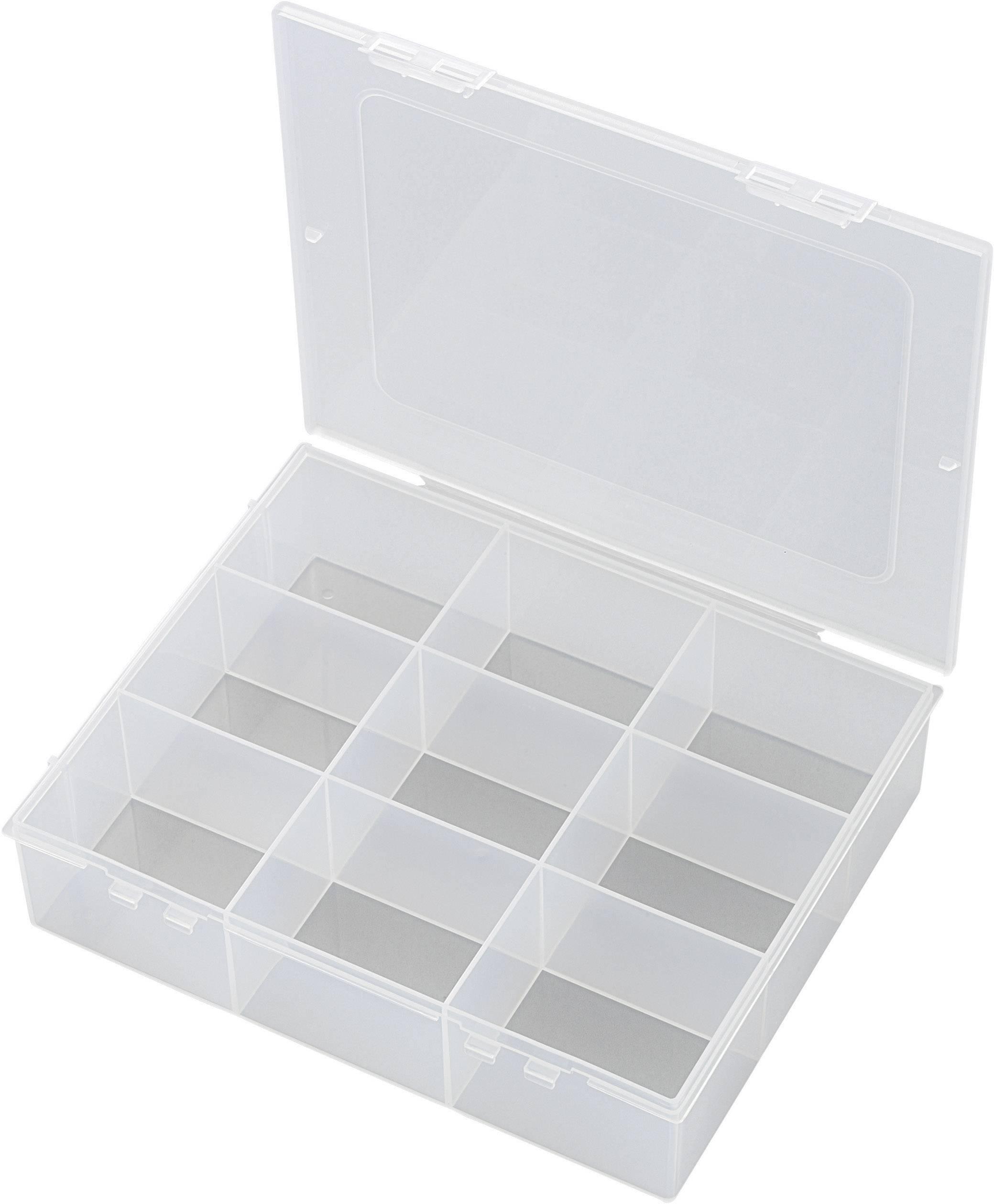 Krabička na drobné súčiastky TRU COMPONENTS 1565067, priečinkov: 9, 190 x 145 x 42 , transparentná (difúzna)