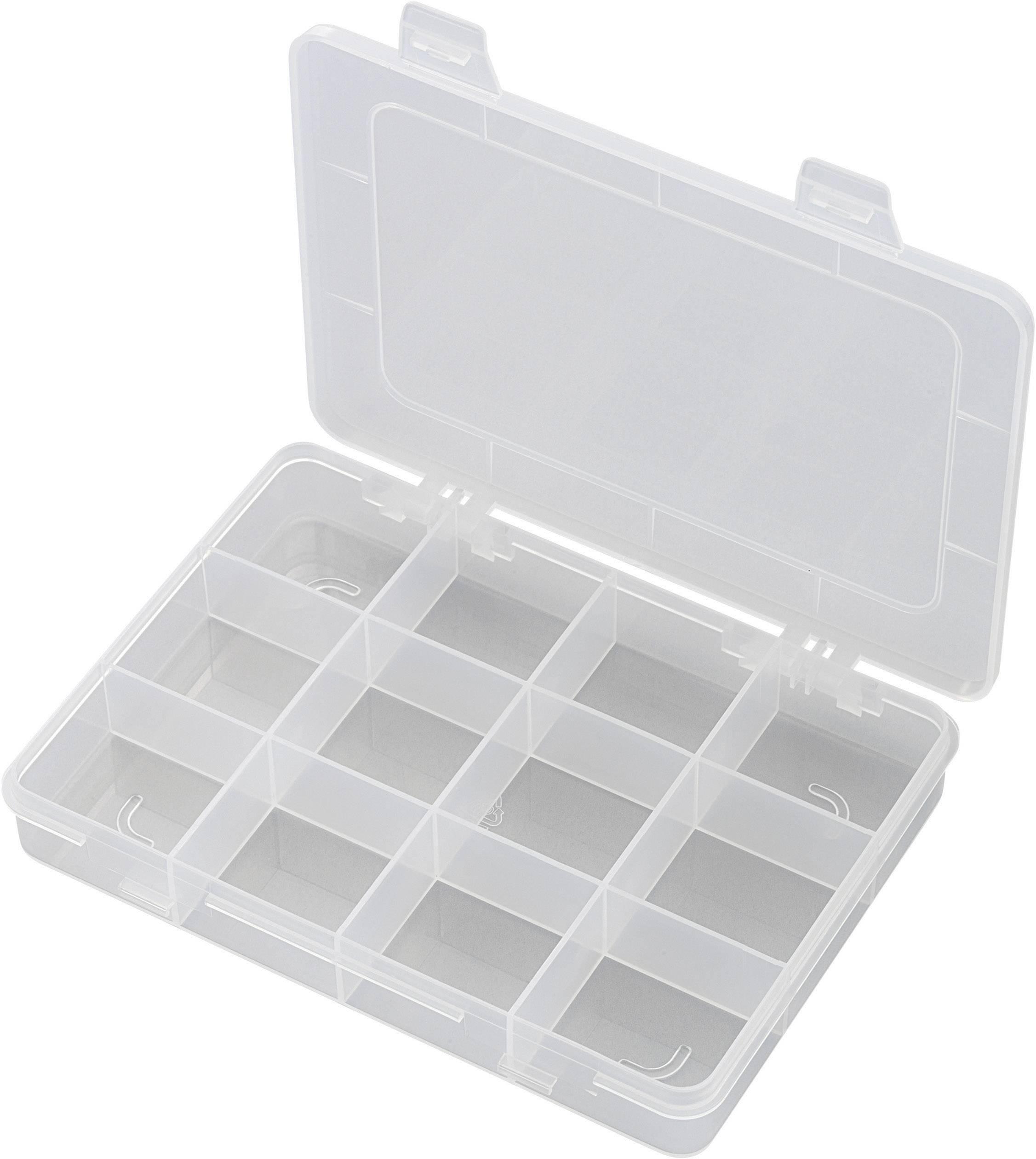 Krabička na drobné súčiastky 181934, priečinkov: 12, 184 x 124 x 25 , transparentná (difúzna)