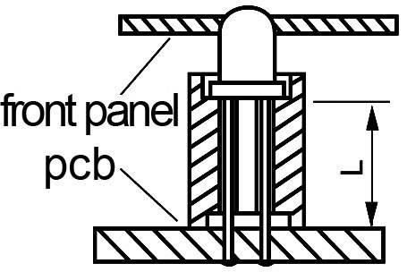 Distančný LED držiak, Ø 7 mm, 10 mm, vhodný pre LED 5 mm, čierna