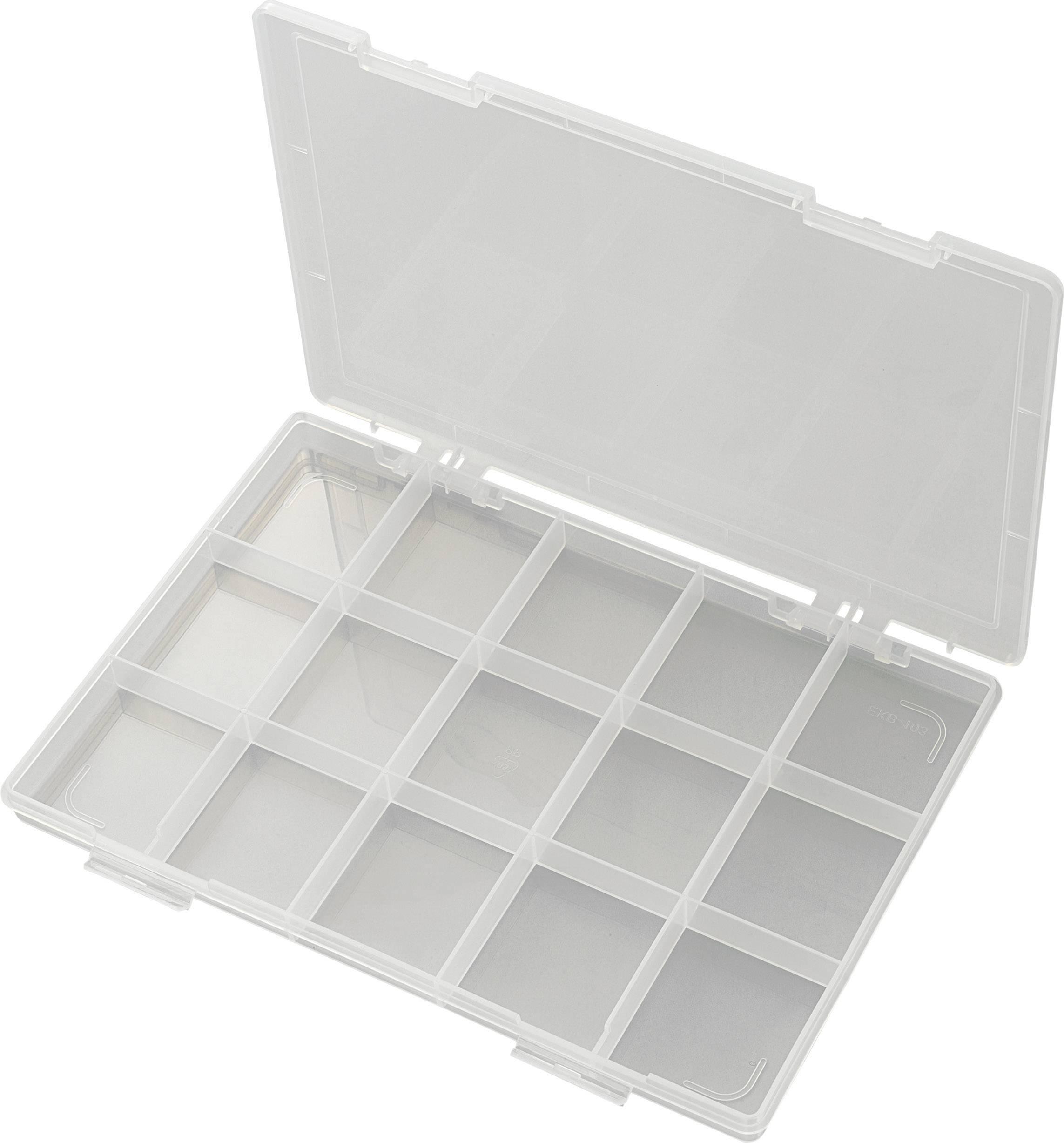 Krabička na drobné súčiastky 182789, priečinkov: 15, 285 x 209 x 23 , transparentná (difúzna)