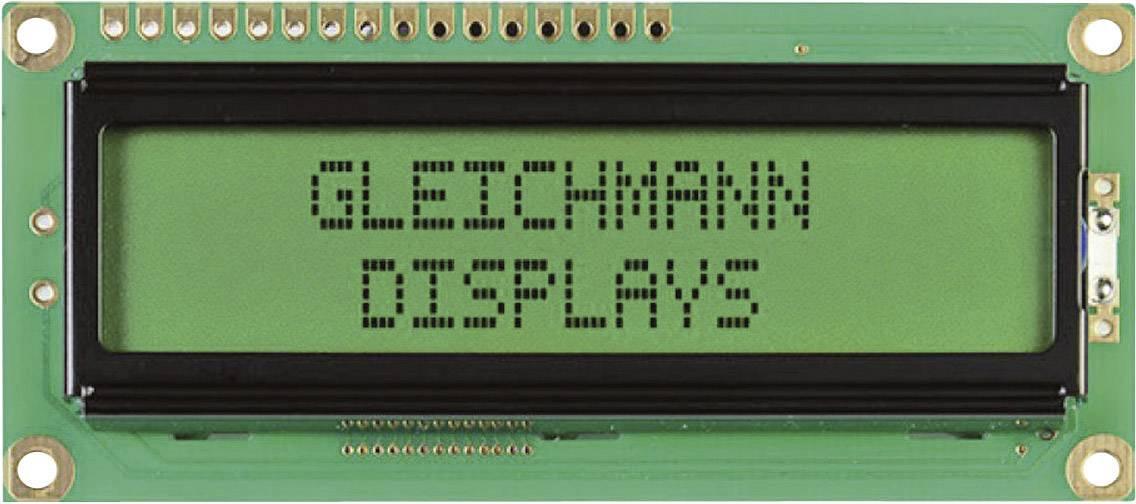 LEDmodul Gleichmann GE-C1602B-YYH-JT/R GE-C1602B-YYH-JT/R, (š x v x h) 80 x 36 x 13.2 mm, čierna, žlutozlená