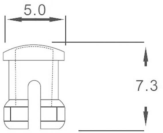 Světelná krytka, EDK-02-PCW, 3 mm, (Ø x v) 5 mm x 7.3 mm, transparentní