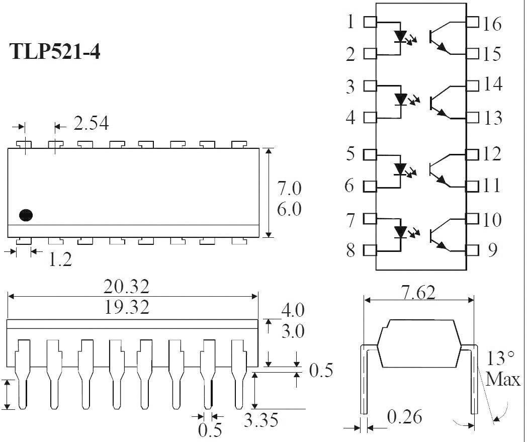 Optočlen - fototranzistor Isocom Components TLP521-4GB DIP-16
