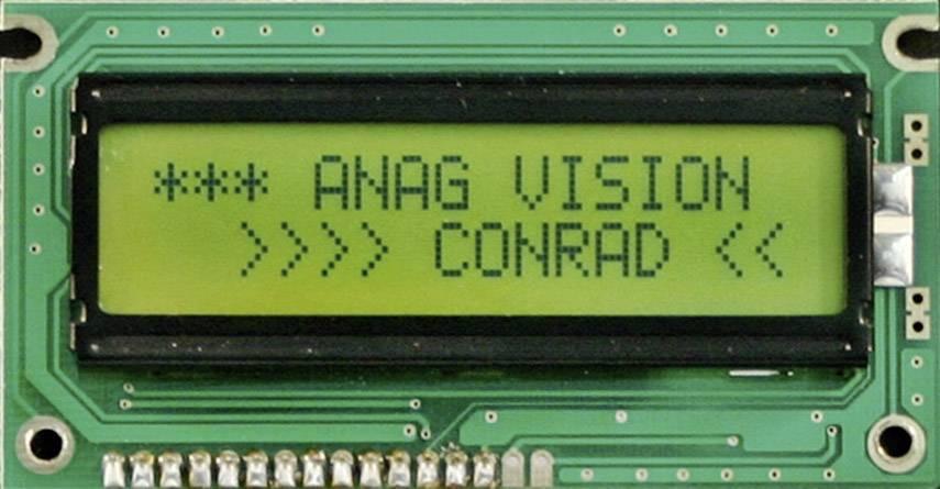 LCD displej 8x2, 10 mm, černá, zelená/žlutá