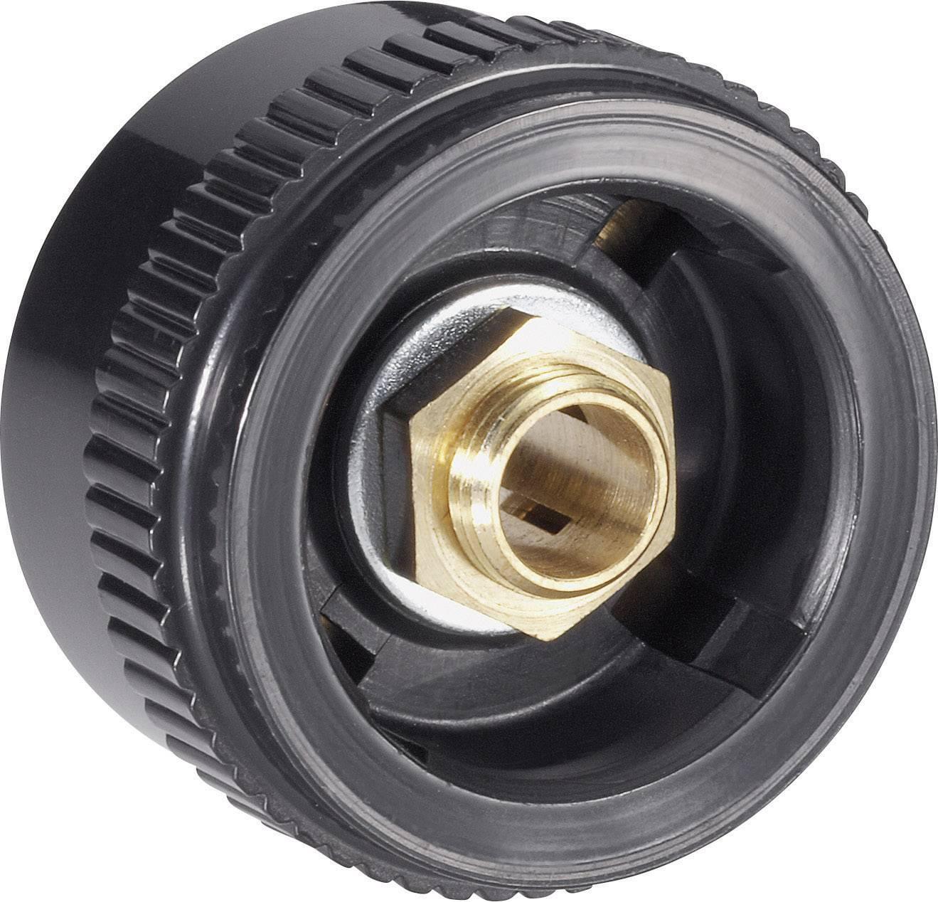 Otočný knoflík s kleštinovým uchycením Mentor 4132.603, pro sérii 20, 6 mm, černá