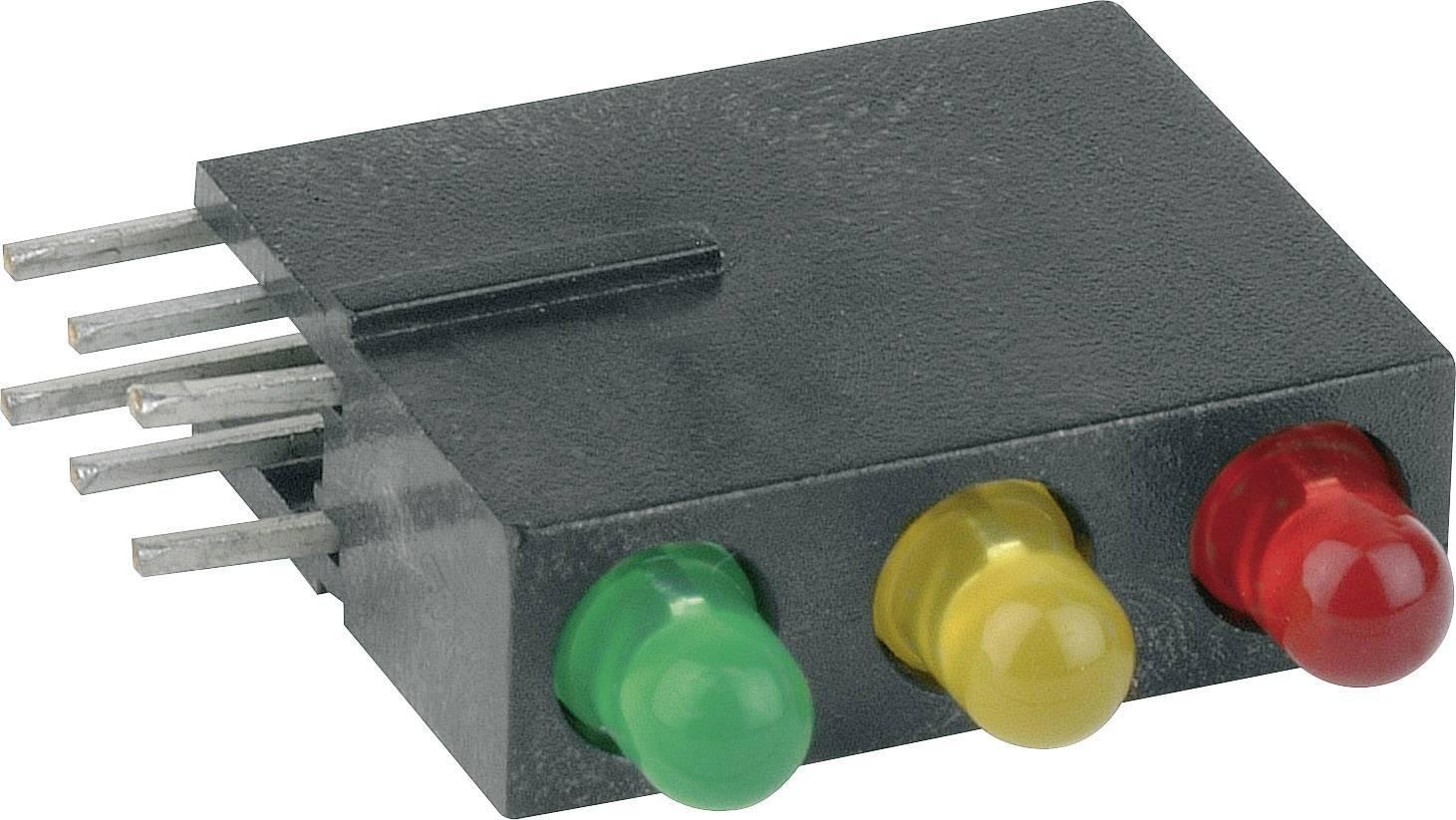 LED THT Mentor 1881.8720, Ø 3 mm, červená/žlutá/zelená