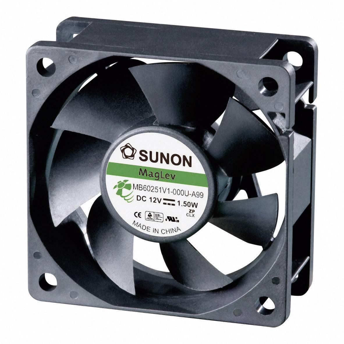 Axiálny ventilátor Sunon MB60251V1-0000-A99 MB60251V1-0000-A99, 12 V/DC, 33.5 dB, (d x š x v) 60 x 60 x 25 mm