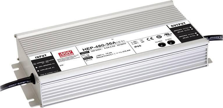 AC/DC zdroj do DPS Mean Well HEP-480-54A, 56.7 V/DC, 8.9 A, 480.6 W, regulovatelné výstupní napětí, otevřené konce kabelu
