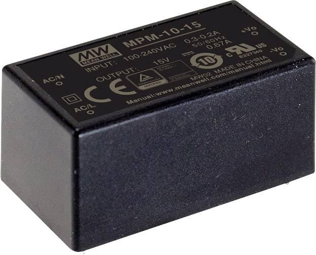 AC/DC zdroj do DPS Mean Well MPM-10-15, 15 V/DC, 670 mA