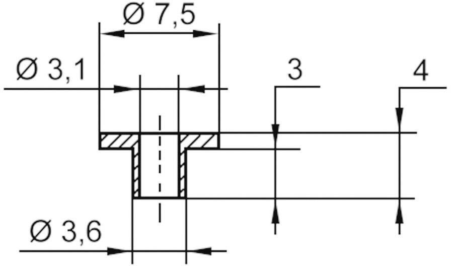 Izolační průchodka KSS V5816, 7,5/3,1 mm