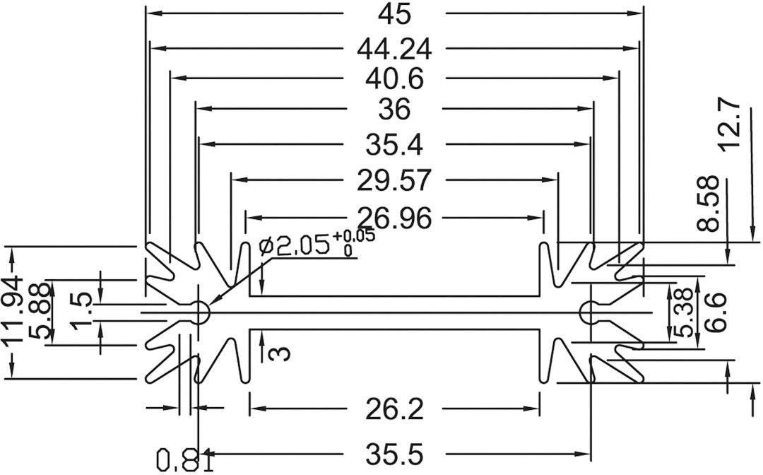 Profilový chladič s piny Assmann WSW V7466W, 25,4 x 45 x 11,94 mm, 8,2 K/W