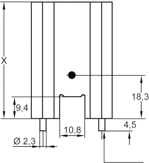 Profilový chladič s piny Assmann WSW V7477WC, 25,4 x 35 x 12,7 mm, 14 K/W