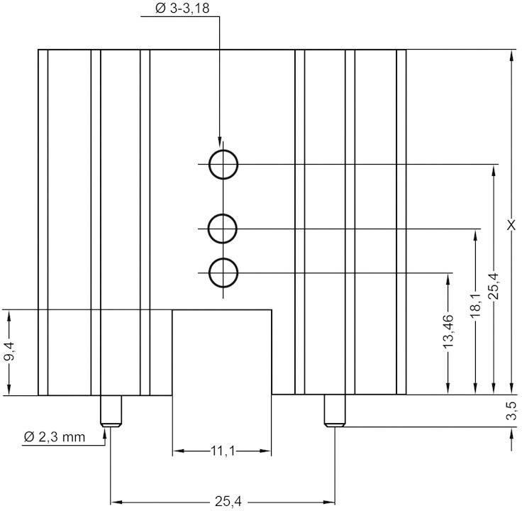 Prolisovaný chladič s piny Assmann WSW V8511Y, 50,8 x 41,6 x 25 mm, 4 K/W
