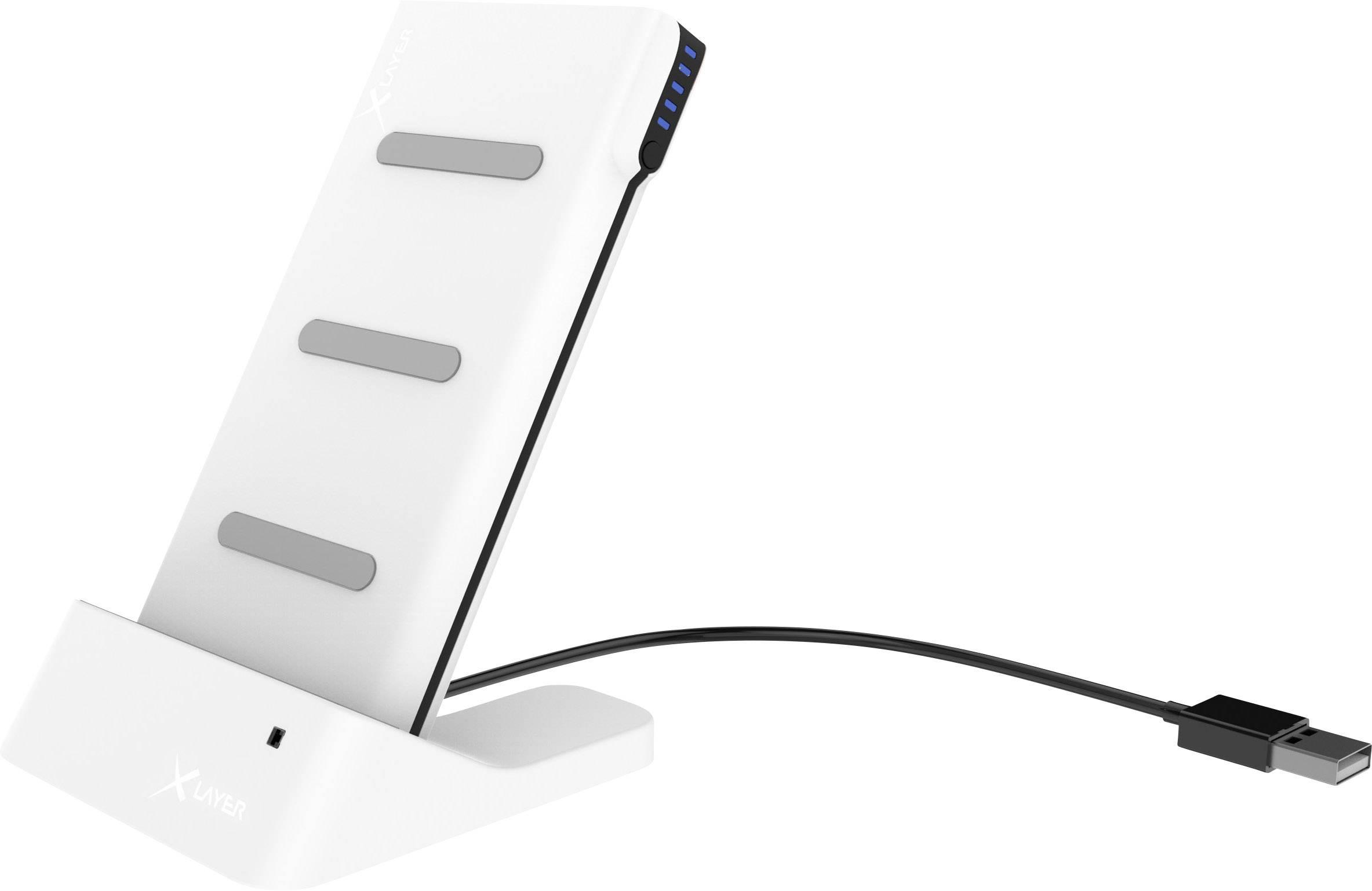 Bezdrátová indukční nabíječka Xlayer 215757, Qi standard, USB, bílá