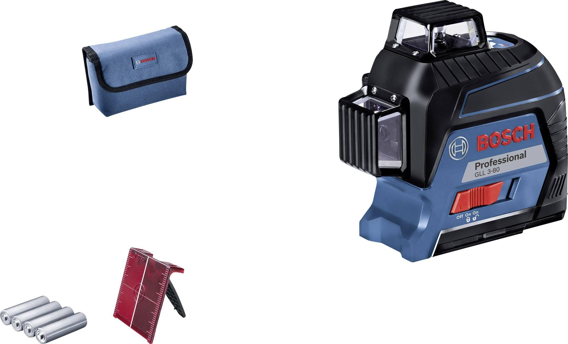 Křížová laserová vodováha Bosch Professional GLL 3-80, dosah (max.): 30 m, Kalibrováno dle: bez certifikátu