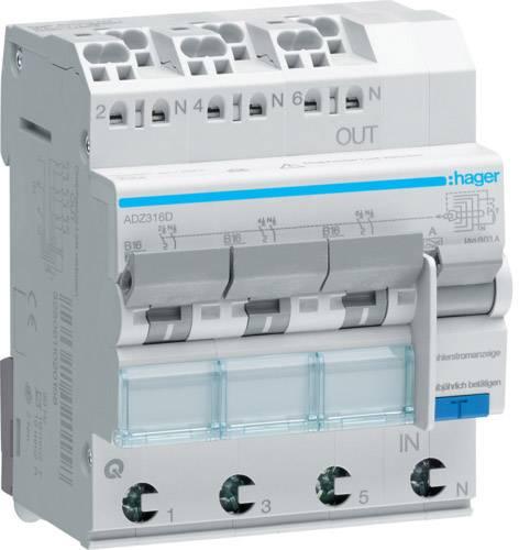 Ochranný proudový spínač Hager ADZ316D, 2fázový, 3pólový, 16 A, 0.03 A, 230 V