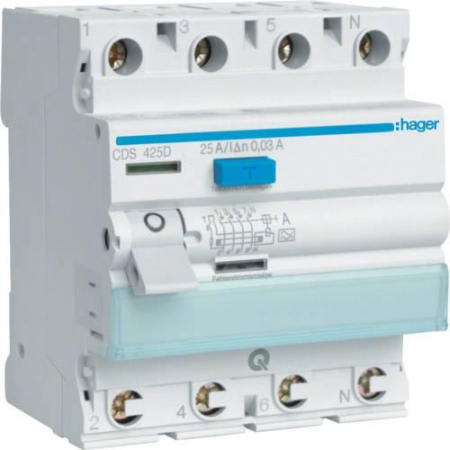 Ochranný proudový spínač Hager CDA425D 25 A 0.03 A 4pólový
