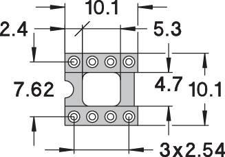 Patice pro IO Preci Dip 110-83-308-41-001101, 8pól., 10,1 x 10,1 mm