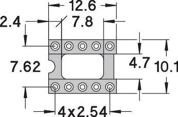 IC pätica Preci Dip 110-83-310-41-001101 presné kontakty, rozteč 7.62 mm, pólů 10, 1 ks