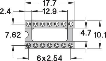 IC pätica Preci Dip 110-83-314-41-001101 presné kontakty, rozteč 7.62 mm, pólů 14, 1 ks