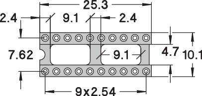 IC pätica Preci Dip 110-83-320-41-001101 presné kontakty, rozteč 7.62 mm, pólů 20, 1 ks