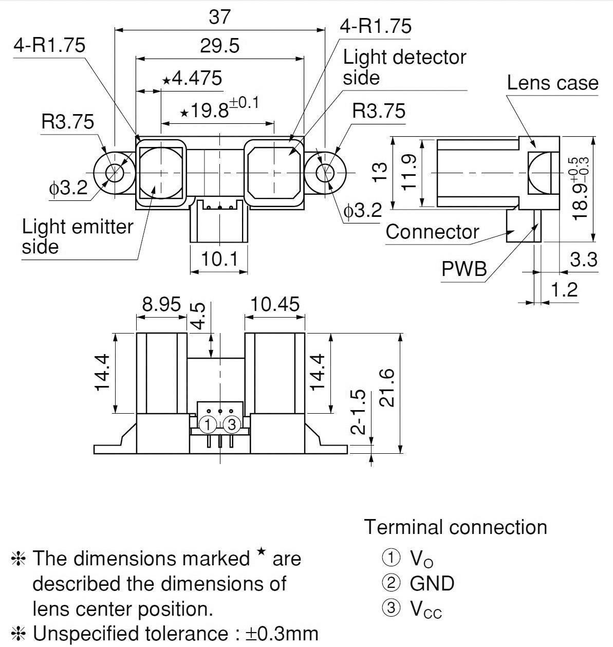 Senzor měření vzdálenosti Sharp