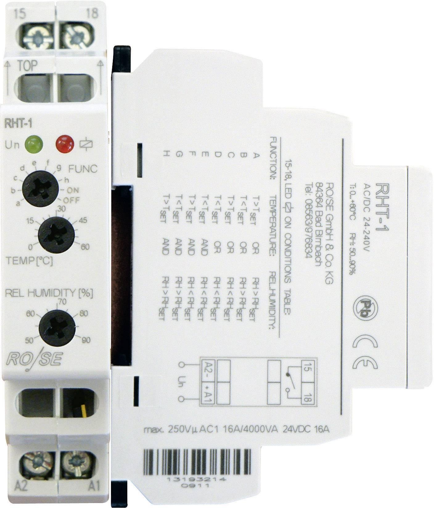 Kombinace hygrostatu a termostatu pro skříňové rozvaděče Rose LM RHT-1 RHT-1, 230 V/DC, 230 V/AC, 1 spínací kontakt, (d x š x v) 90 x 64 x 17.6 mm