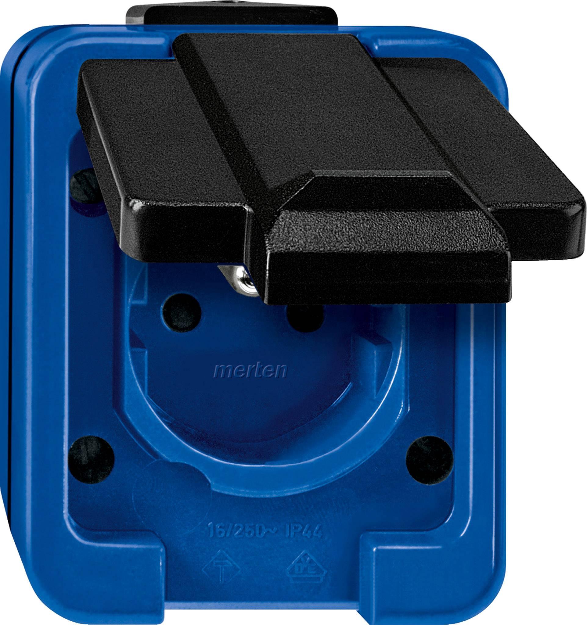 Vestavná zásuvka IP44 modrá Merten 289378