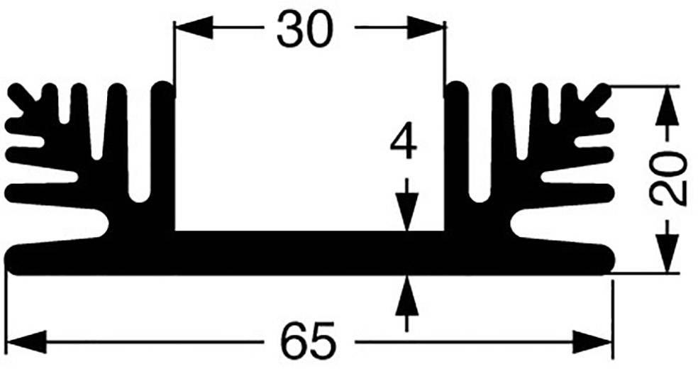 Chladič Fischer Elektronik SK 48 100 SA 10020621, 2.2 K/W, (d x š x v) 100 x 65 x 20 mm