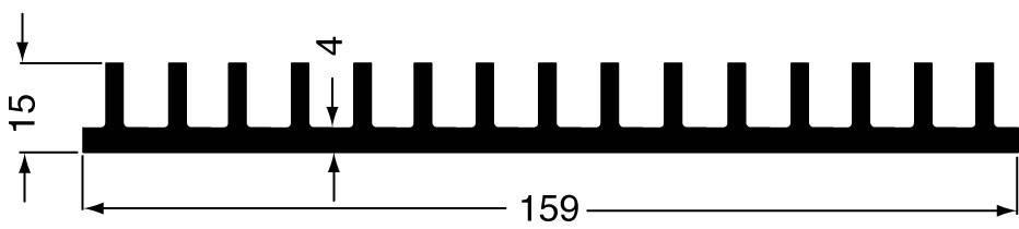 Lisovaný chladič Fischer Elektronik SK 44 100 SA 10020134, 1.7 K/W, (d x š x v) 159 x 100 x 15 mm