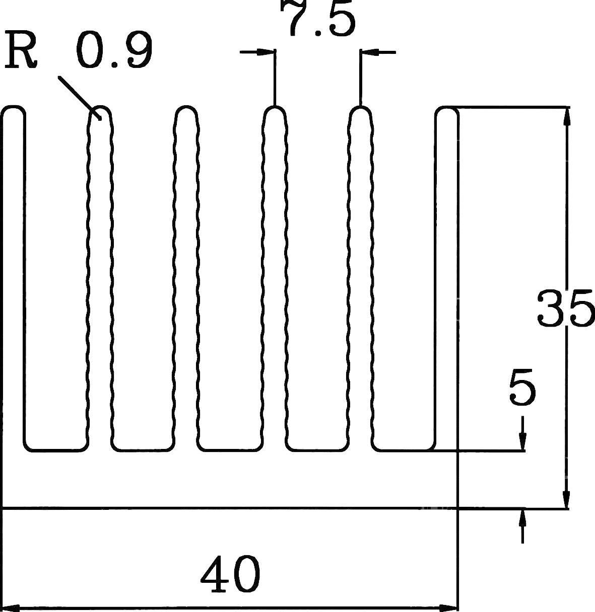 Profilový chladič Pada Engineering 8310/200/N, 40 x 35 x 200 mm, 2,33 K/W