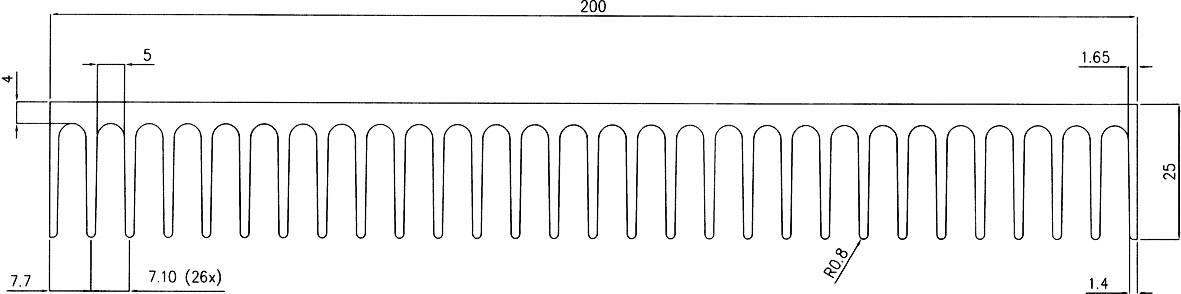 Profilový chladič Pada Engineering 8232/100/N, 200 x 25 x 100 mm, 1,18 K/W