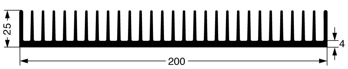 Lisovaný chladič Fischer Elektronik SK 42 100 SA 10019977, 1.2 K/W, (d x š x v) 200 x 100 x 25 mm