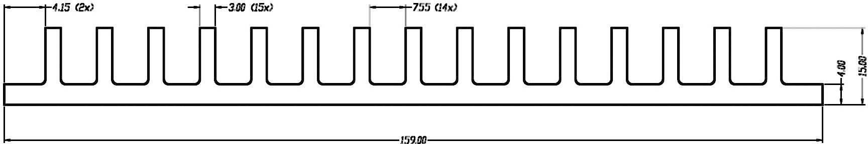 Profilový chladič CTX Thermal Solutions CTX44/200 CTX44/200, 1.4 K/W, (d x š x v) 200 x 159 x 15 mm