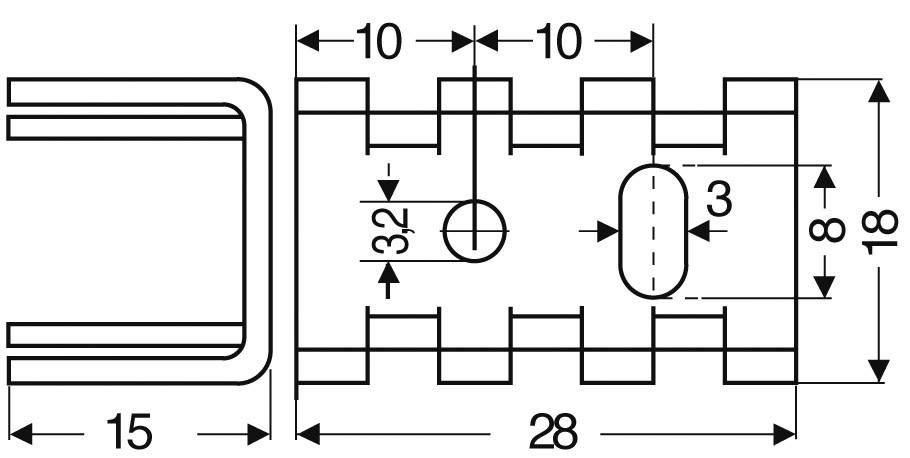 Chladič Fischer Elektronik FK 234 SA L2, 25 x 15 x 18 mm, 16 kW