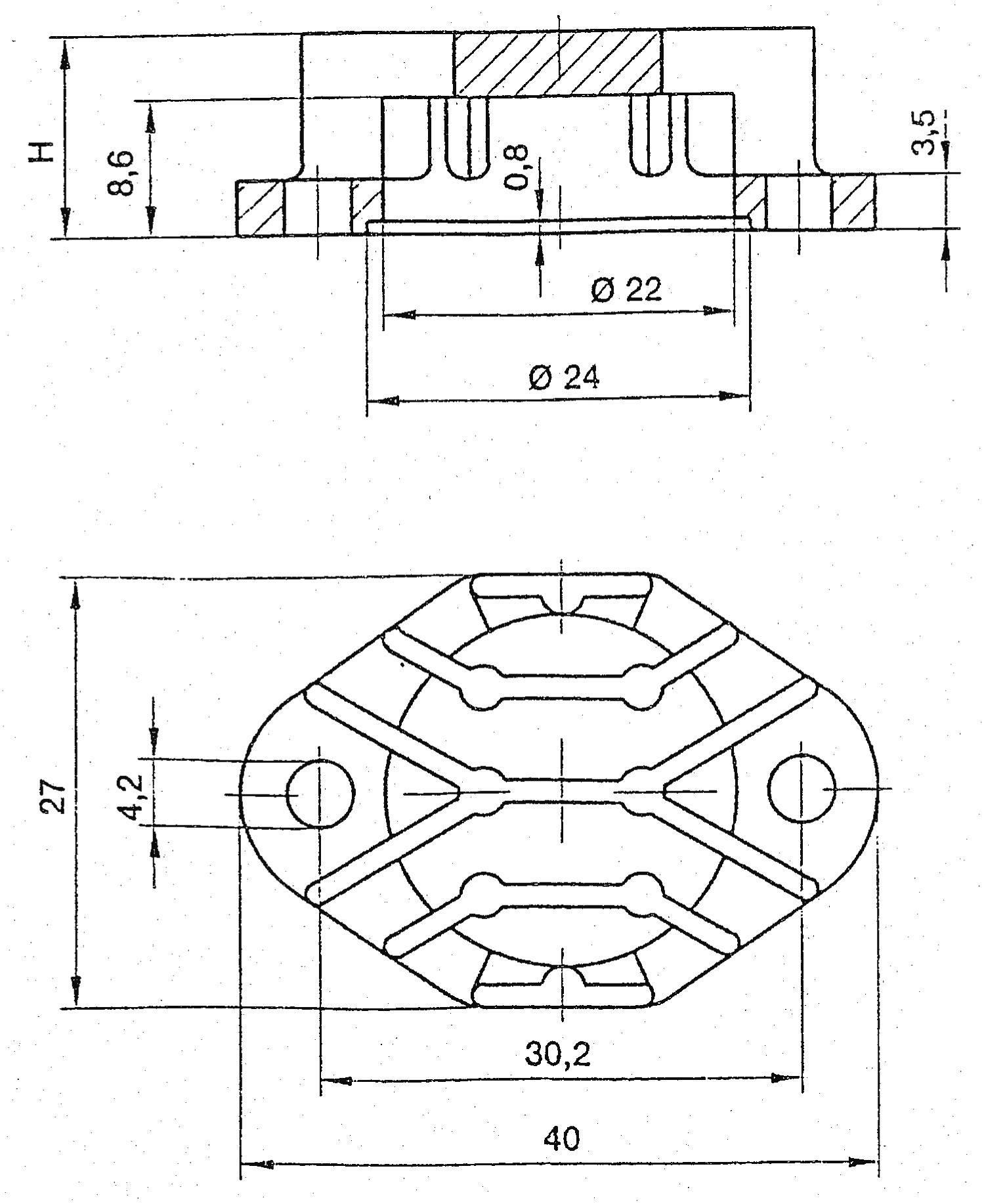Chladič Fischer Elektronik AKK 191 pro pouzdra TO3, 40 x 27 x 19,1 mm, 12 kW