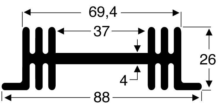 Chladič Fischer Elektronik SK 36 50 SA, 88 x 26 x 50 mm, 3,8 kW