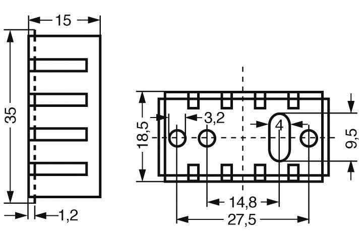 Chladič Fischer Elektronik ICK 35/SA s děrováním, 35 x 18,5 x 15 mm, 20 kW