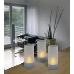 LED LED čajová svíčka sada 3 ks IOIO 98694, mléčné sklo, stříbrná
