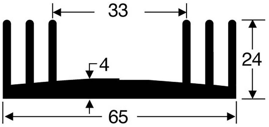 Chladič Fischer Elektronik SK 18 100, 65 x 24 x 100 mm, 2,5 kW