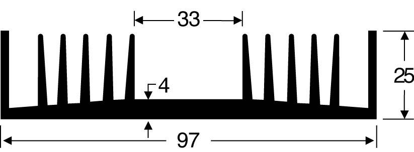Chladič Fischer Elektronik SK 72 50 SA 10022512, 2.4 K/W, (d x š x v) 50 x 97 x 25 mm