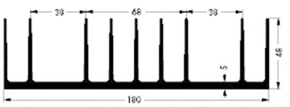 Chladič Fischer Elektronik SK 53 75 SA 10021159, 0.85 K/W, (d x š x v) 75 x 180 x 48 mm