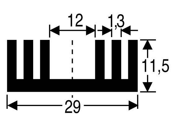 Chladič Fischer Elektronik SK 09 37,5 SA, 29 x 11,5 x 37,5 mm, 8,6 kW