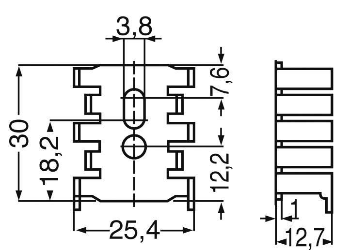 Chladič Fischer Elektronik FK 216/SA-CB, 34 x 12,7 x 25,4 mm, 15 kW